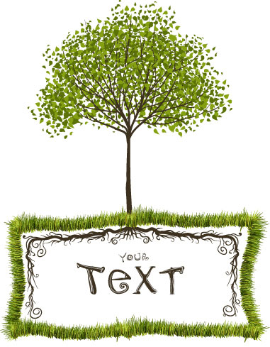 free vector Green trees vector text box