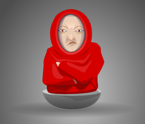 free vector Grumpy Face Wearing Hood clip art