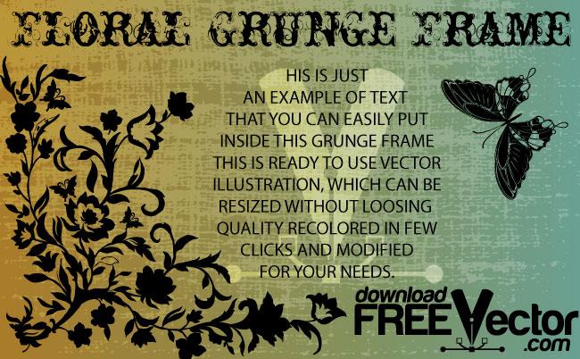 free vector Grunge Floral Frame