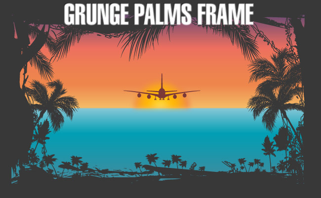 free vector Grunge Palms Frame