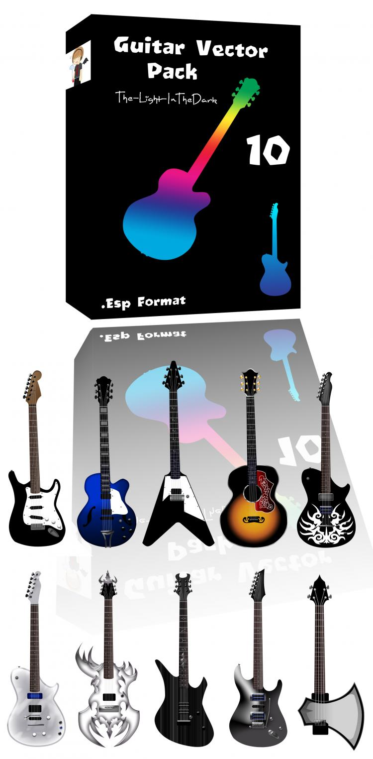 free vector Guitar free vector pack - Different shape