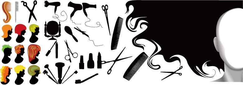 free vector Hairdressing series element vector material