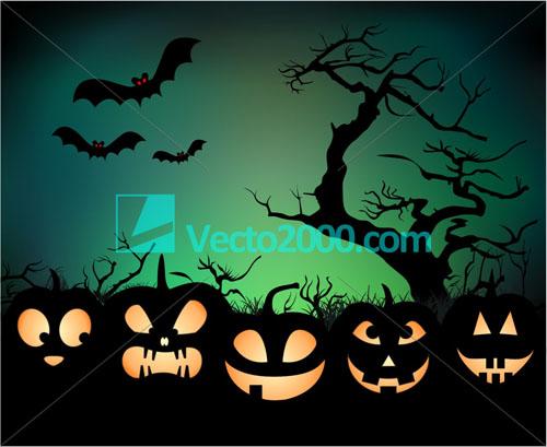 free vector Halloween night background