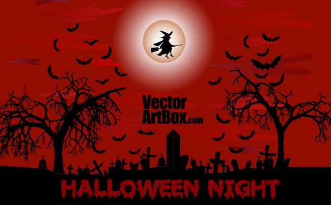 free vector Halloween Night Poster