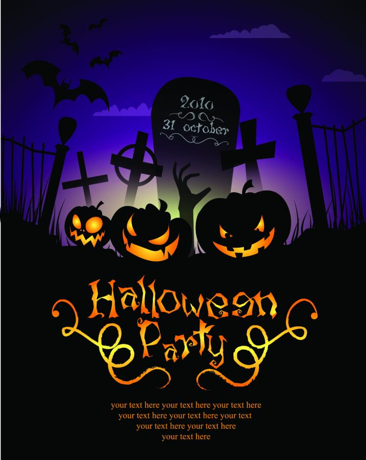free vector Halloween posters beautiful background 04 vector