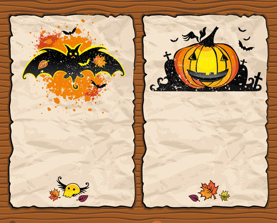 free vector Halloween pumpkin bat background vector