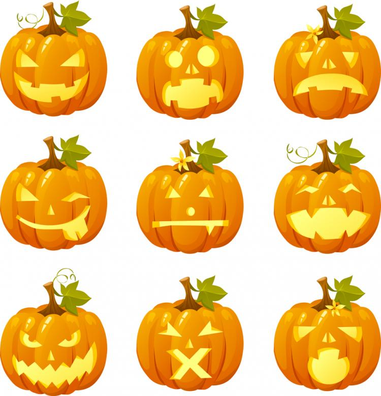 free vector Halloween pumpkin head vector emoticons