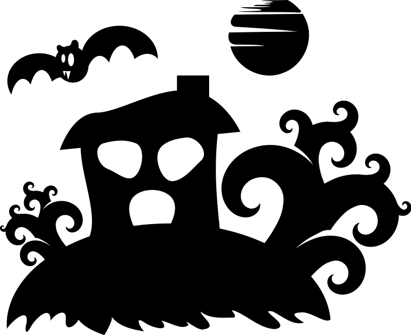 free vector Halloween - spooky house silhouette