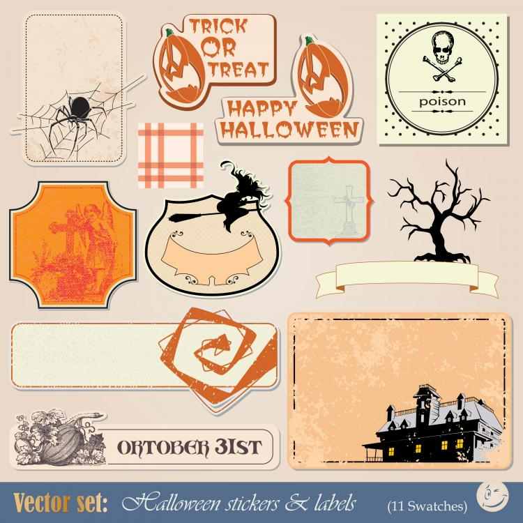 free vector Halloween tag 01 vector