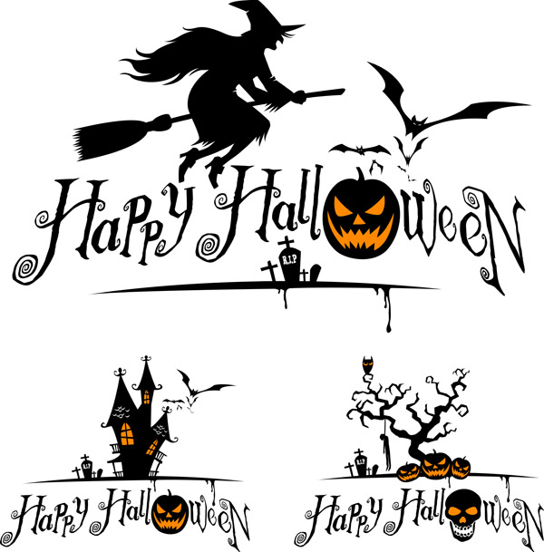 halloween witch and graphics vector free vector 4vector