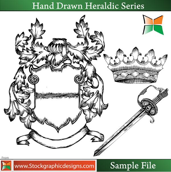 free vector Hand Drawn Heraldic Elements