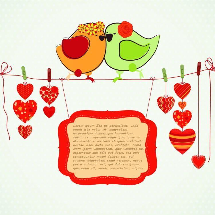 free vector Hand-drawn Illustrations Love Birds 04-- Vector Material Hand-drawn Illustration Love Birds