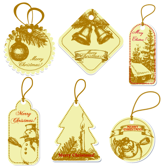 free vector Handdrawn style vector label tag christmas