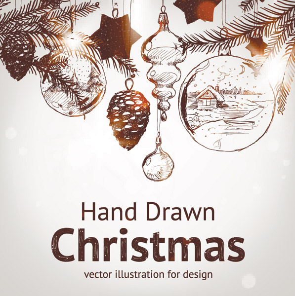 free vector Handpainted christmas element vector