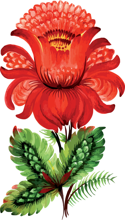 free vector Handpainted floral decoration style vector