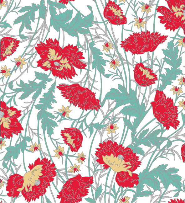 free vector Handpainted flower pattern background vector