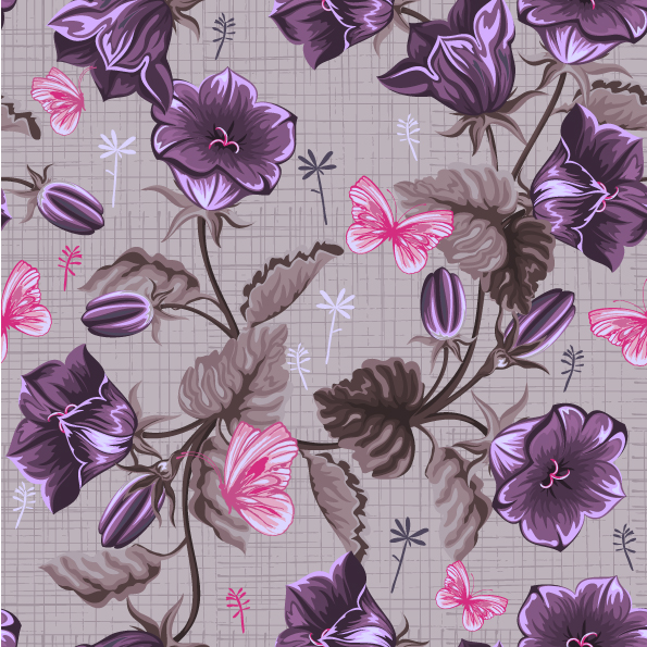 free vector Handpainted flowers vector background 1