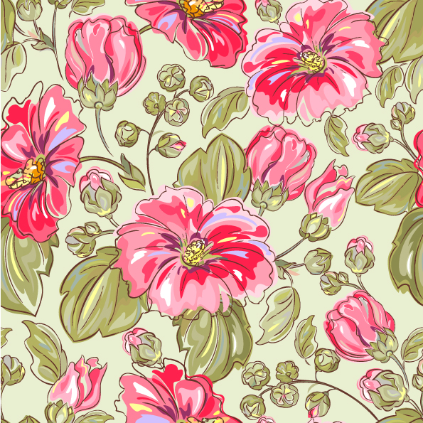 free vector Handpainted flowers vector background 5