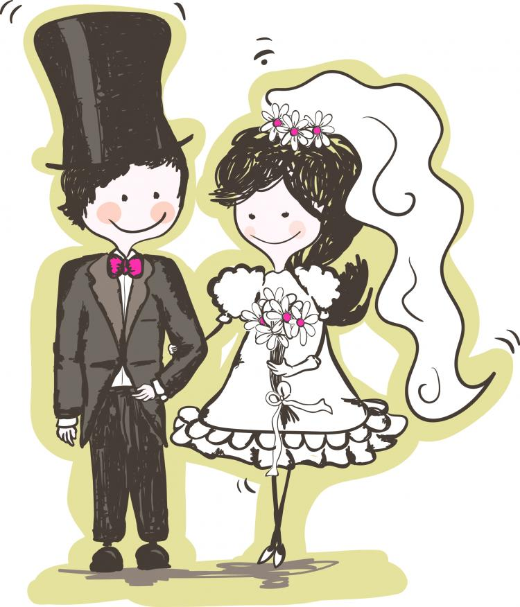 free vector Handpainted version of the bride and groom 04 vector