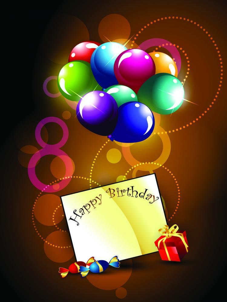 free vector Happy birthday postcard 01 vector