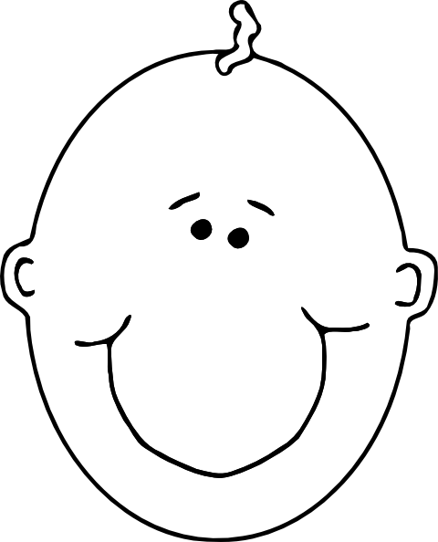 free vector Happy Boyface Outline clip art