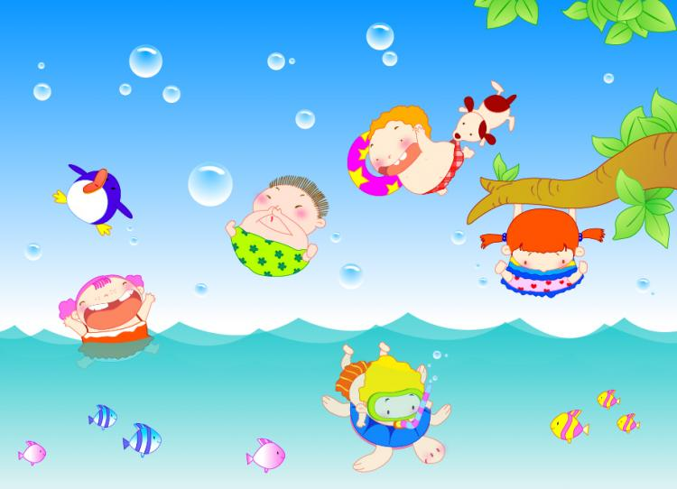 free vector Happy children swimming vector