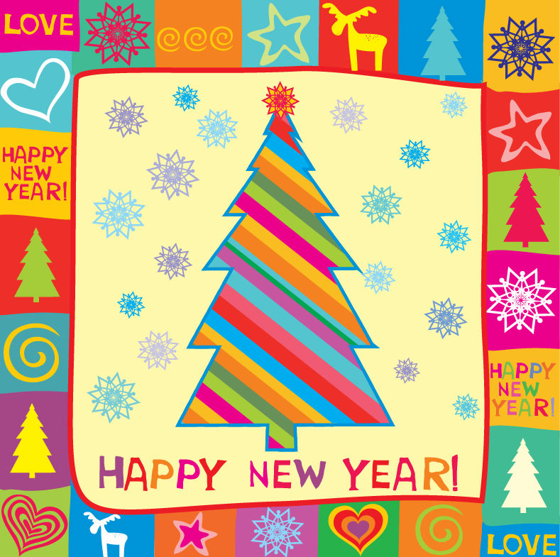 Happy new year greeting card vector illustration free vector 4vector free vector happy new year greeting card vector illustration m4hsunfo