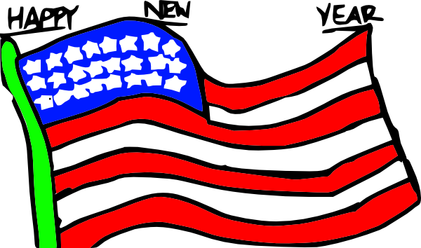 free vector Happy New Year Us Flag clip art