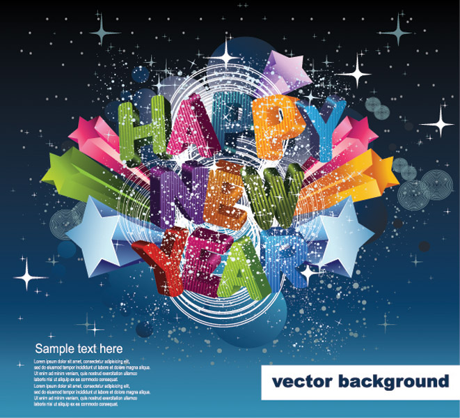 free vector Happy new yeardimensional vector