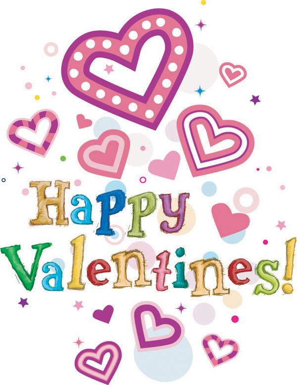 Happy valentine day wordart vector Free Vector / 4Vector