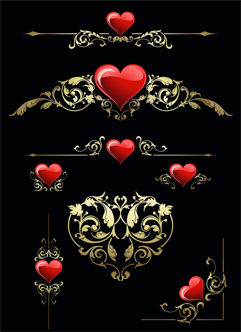 free vector Heart and pattern vector