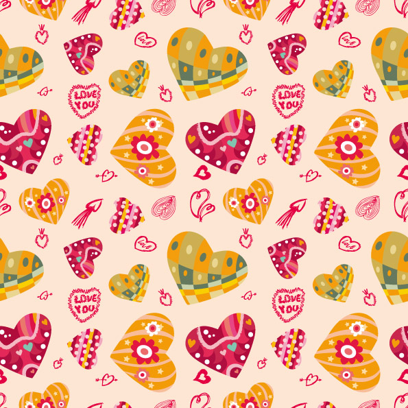 free vector Heart background vector cute pursuit