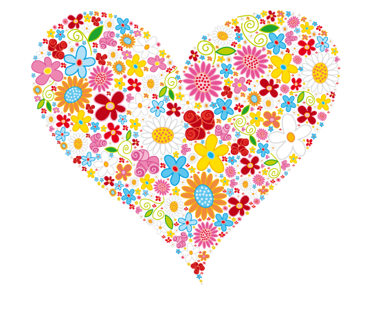 free vector HEART Flowers