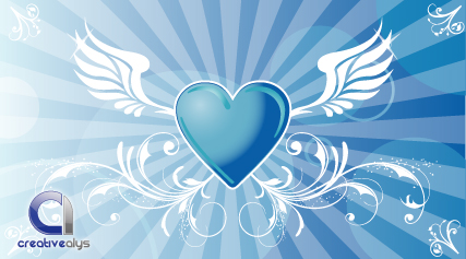 free vector Heart Vector Background with Wings