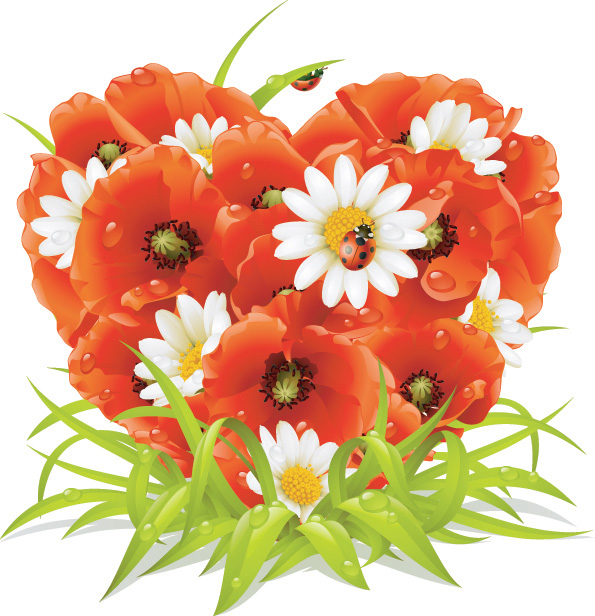 free vector Heartshaped flowers composed of vector