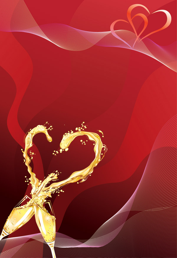 free vector Heartshaped vector 4 champagne