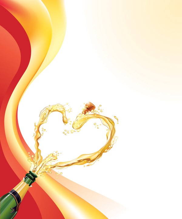 free vector Heartshaped vector 5 champagne