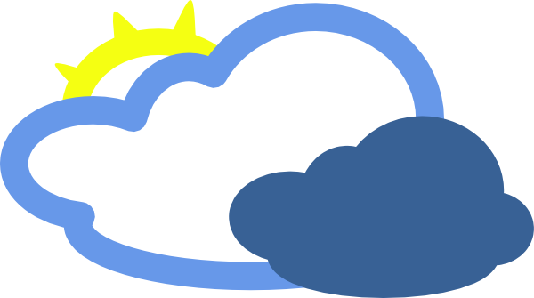 free vector Heavy Clouds And Sun Weather Symbol clip art