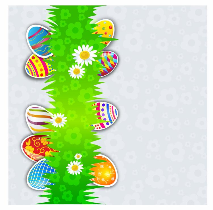 free vector Holiday eggs on green grass