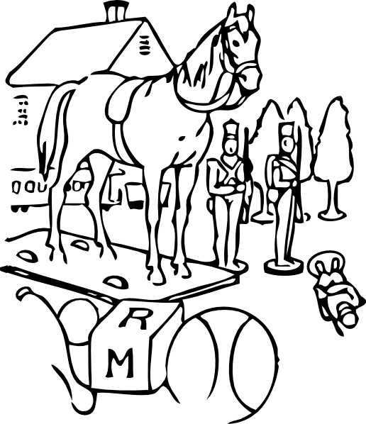free vector Horse Building Trees Toys Outline clip art