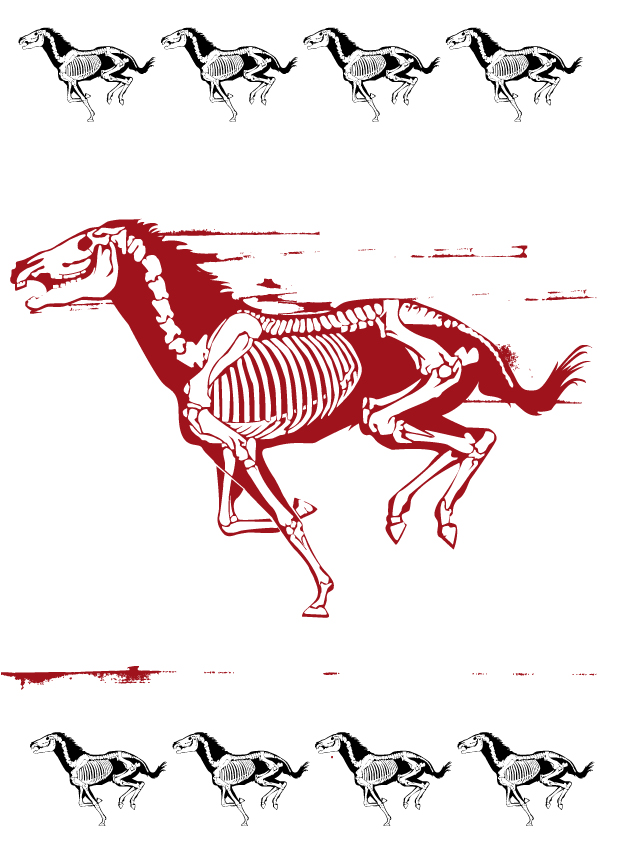 free vector Horse silhouette skelett stencil