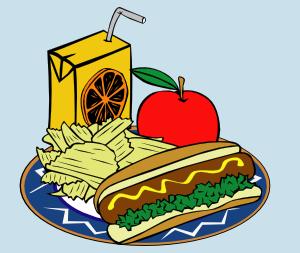 free vector Hotdog Apple Juice Chips Mustard clip art
