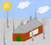 free vector House Trees Sun Snow clip art