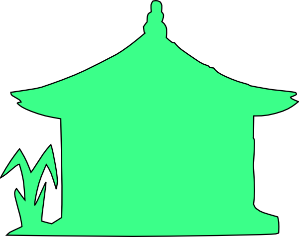 free vector House With Plants Outline clip art