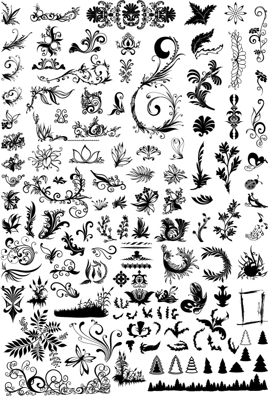 free vector Hundreds of patterns, insects, trees and other vector material