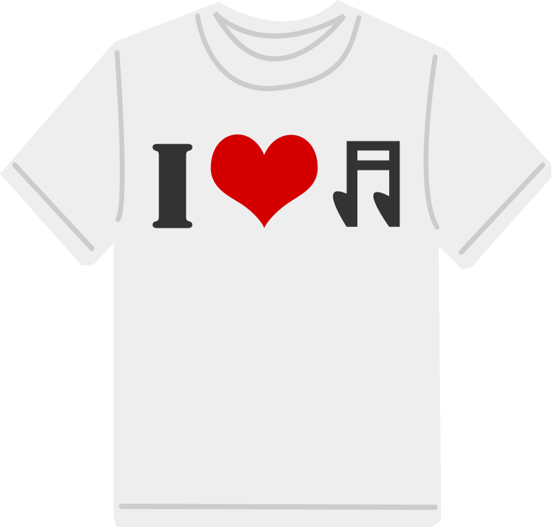I Love music T-shirt (101390) Free SVG Download / 4 Vector