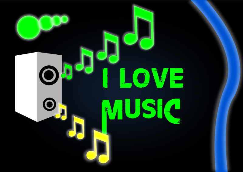 free vector I LOVE MUSIC