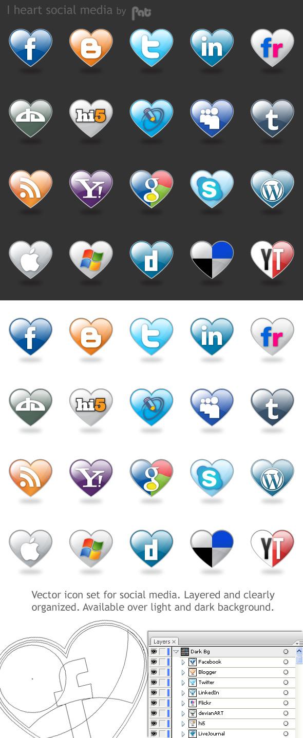 free vector I Love Social Media