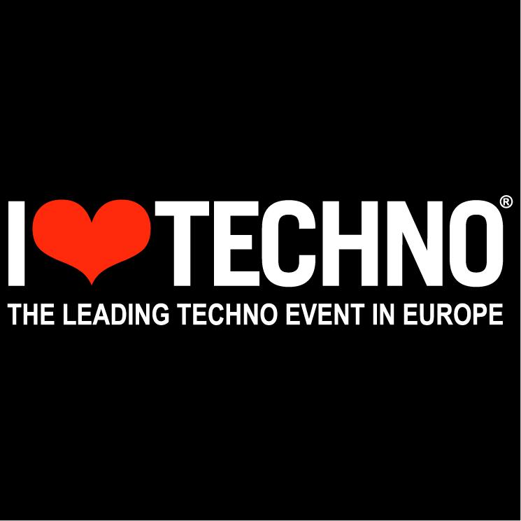 free vector I love techno