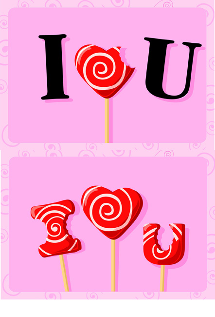 free vector I love you candy vector